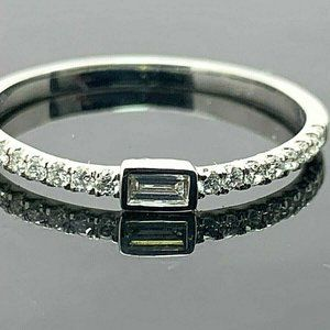 Wedding Band Diamonds 1/6ctw Baguette 14k Size 7